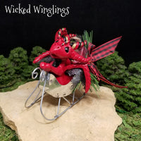 RESERVED FOR LYSA B. Taragen - Hand Sculpted Polymer Clay Dragon with Sleigh - Wicked Winglings