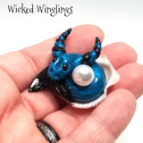 Olvin - Hand Sculpted Mini Polymer Clay Sea Dragon with Pearl