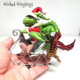 Vresig - Hand Sculpted Polymer Clay Santa Dragon with Sleigh