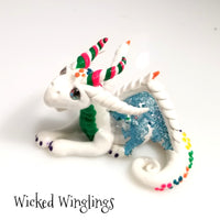 Bahaghari - Hand Sculpted Polymer Clay Confetti Dragon - Wicked Winglings