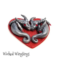 Dragoste & Dashuri - Hand Sculpted Polymer Clay Dragon Couple on Heart