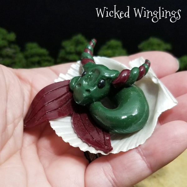Feiddine - Hand Sculpted Mini Polymer Clay Sea Dragon in Shell - Wicked Winglings