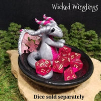Keirian - Hand Sculpted Polymer Clay Dragon with Trinket Dish - Dice Set Not Included