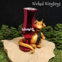 Akmir - Hand Sculpted Polymer Clay Dragon with Medieval Times Chalice - Wicked Winglings
