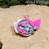Ekko - Hand Sculpted Mini Polymer Clay Sea Dragon in Shell - Wicked Winglings
