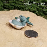 Marace - Hand Sculpted Mini Polymer Clay Sea Dragon in Shell - Wicked Winglings