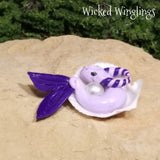 Pinlin - Hand Sculpted Mini Polymer Clay Sea Dragon in Shell - Wicked Winglings