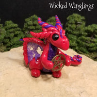 Myrwynn - Hand Sculpted Polymer Clay Dragon with Pentacle