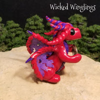 Myrwynn - Hand Sculpted Polymer Clay Dragon with Pentacle - Wicked Winglings