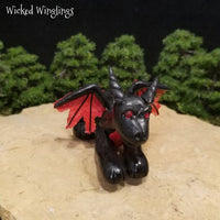 Older Style Hand Sculpted Polymer Clay Dragon 2006 - Wicked Winglings