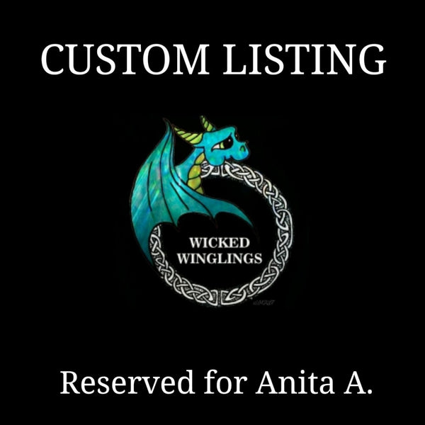 RESERVED for Anita A. - Custom Hand Sculpted Polymer Clay Dragon - Wicked Winglings
