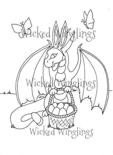 Easter Bunny Dragon Coloring Page - PDF Printable Download - Wicked Winglings