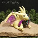 Tesian - Hand Sculpted Polymer Clay Dragon with Hand Painted Mandala Egg
