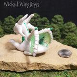 Reuwyn - Hand Sculpted Polymer Clay Dragon with Hand Painted Mandala Egg - Wicked Winglings