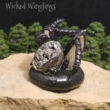 Cromlyn - Hand Sculpted Polymer Clay Dragon with Pyrite Egg