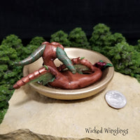 Tyrno - Hand Sculpted Polymer Clay Dragon with Trinket Dish - Dice Not Included