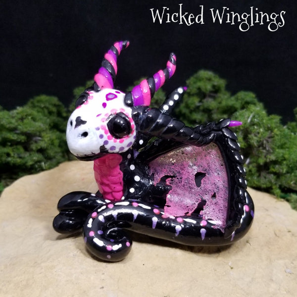 Custom Hand Sculpted Polymer Clay Sugar Skull Dragon - Wicked Winglings