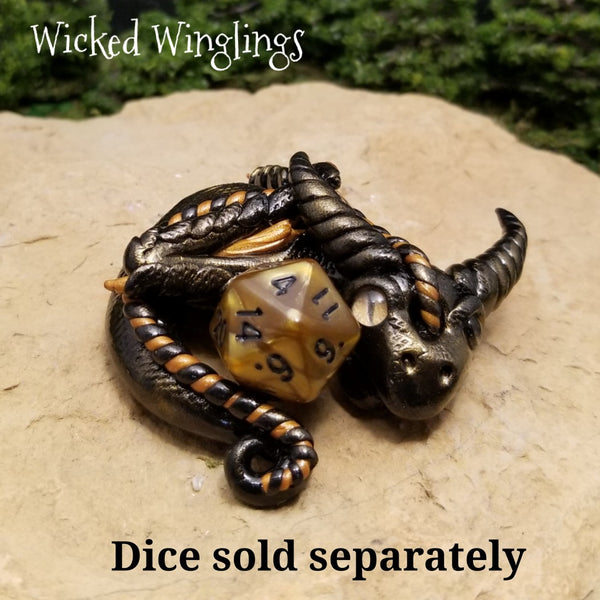 Igra - Hand Sculpted Polymer Clay Dragon D20 Holder - Dice Not Included - Wicked Winglings