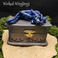Laro - Hand Sculpted Polymer Clay Dragon on Trinket Box - Dice Not Included