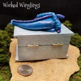 Peli - Hand Sculpted Polymer Clay Dragon on Trinket Box - Dice Not Included