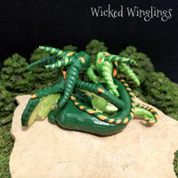 Custom Hand Sculpted Polymer Clay Mother Dragon with Baby - Wicked Winglings