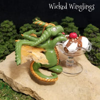 Iskrem - Hand Sculpted Polymer Clay Dragon - Wicked Winglings