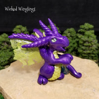 Dusevni - Hand Sculpted Polymer Clay Dragon with Aqua Aura Quartz - Wicked Winglings