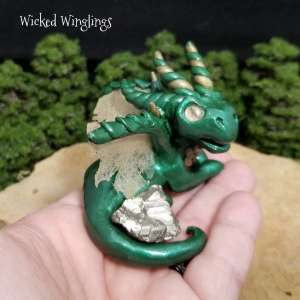 Omni - Hand Sculpted Polymer Clay Dragon with Pyrite (Fool's Gold)