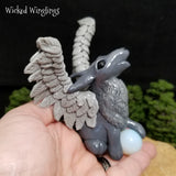 Vilkas - Hand Sculpted Polymer Clay Winged Wolf with Opalite Sphere - Wicked Winglings