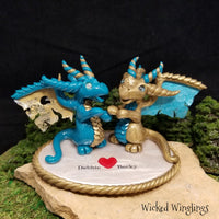 Custom Hand Sculpted Polymer Clay Dragon Sisters - Wicked Winglings