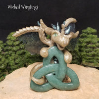 Firaven - Hand Sculpted Polymer Clay Dragon with Green Aventurine Triquetra - Wicked Winglings