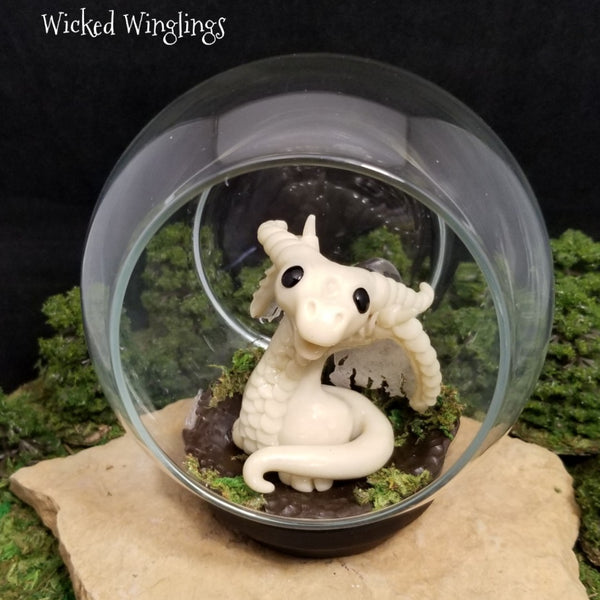 Fantasma - Hand Sculpted Polymer Clay Dragon with Glass Globe - Glows In The Dark