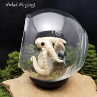 Fantasma - Hand Sculpted Polymer Clay Dragon with Glass Globe - Glows In The Dark - Wicked Winglings