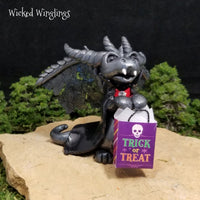 Bracco - Hand Sculpted Polymer Clay Vampire Trick or Treating Dragon - Wicked Winglings