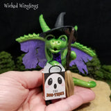 Aveeney - Hand Sculpted Polymer Clay Witch Trick or Treating Dragon - Wicked Winglings
