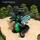 Anfaeroti - Hand Sculpted Polymer Clay Dark Fairy Dragon - Wicked Winglings