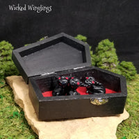 Drac, Vlad and Lilith - Hand Sculpted Polymer Clay Baby Vampire Dragons in Coffin