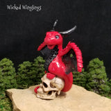 Aradon - Hand Sculpted Polymer Clay Dragon on Resin Skull - Wicked Winglings