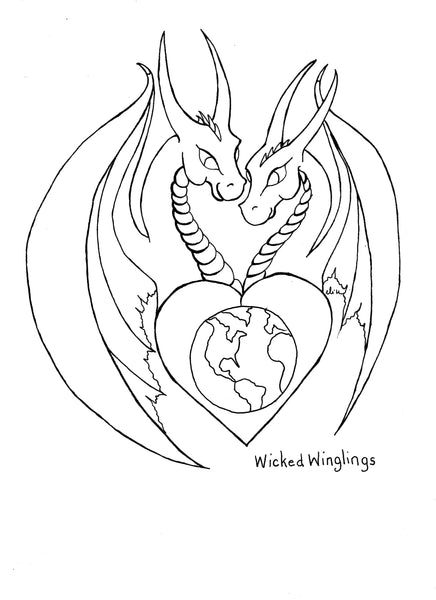 Dragons with Earth Coloring Page - PDF Printable Download - Wicked Winglings