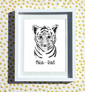 Hand Drawn Personalised Tiger Print