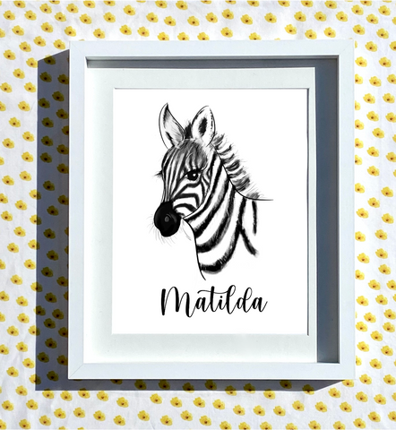 Hand Drawn Personalised Zebra Print