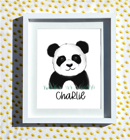 Hand Drawn Personalised Panda Print