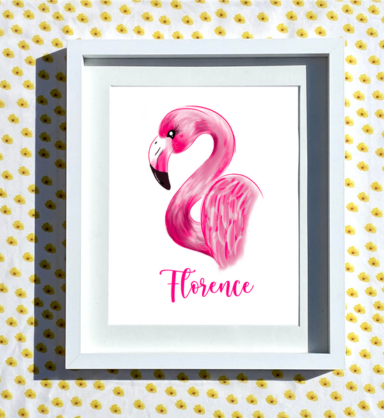 Hand Drawn Personalised Flamingo Print
