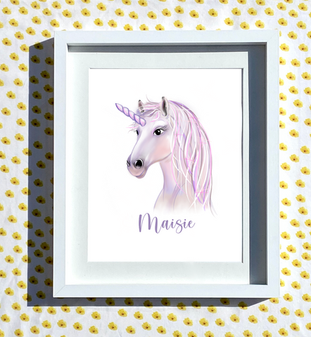 Hand Drawn Personalised Unicorn Print