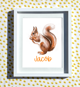 Hand Drawn Personalised Squirrel Print