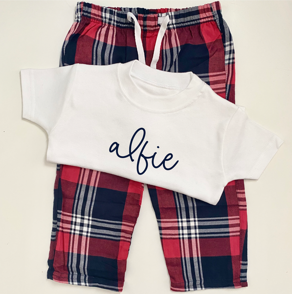 Little Personalised Red Tartan Pyjamas