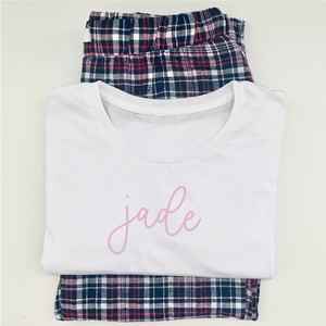 Personalised Navy Tartan Pyjamas