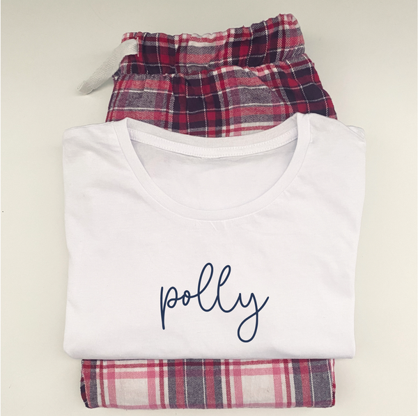 Personalised Red Tartan Pyjamas