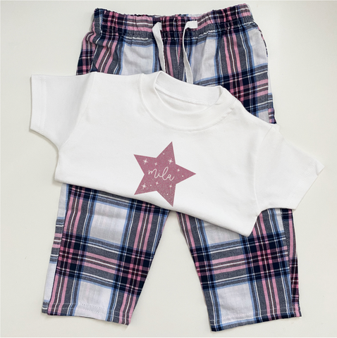Little White Personalised Star Pyjamas
