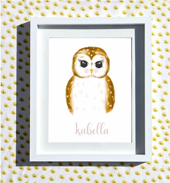 Hand Drawn Personalised Owl Print